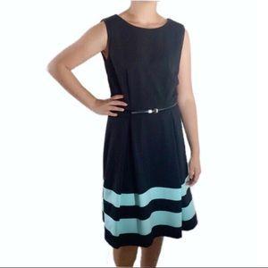 Calvin Klein Fit N Flare Dress Black Blue Belt 6